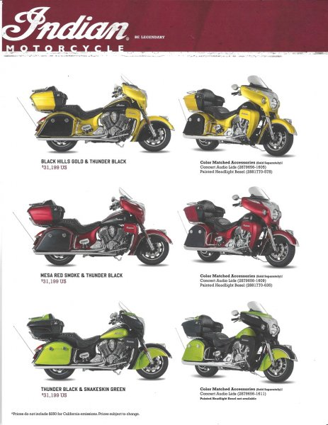 2017 Icon Series Roadmaster Paint Available